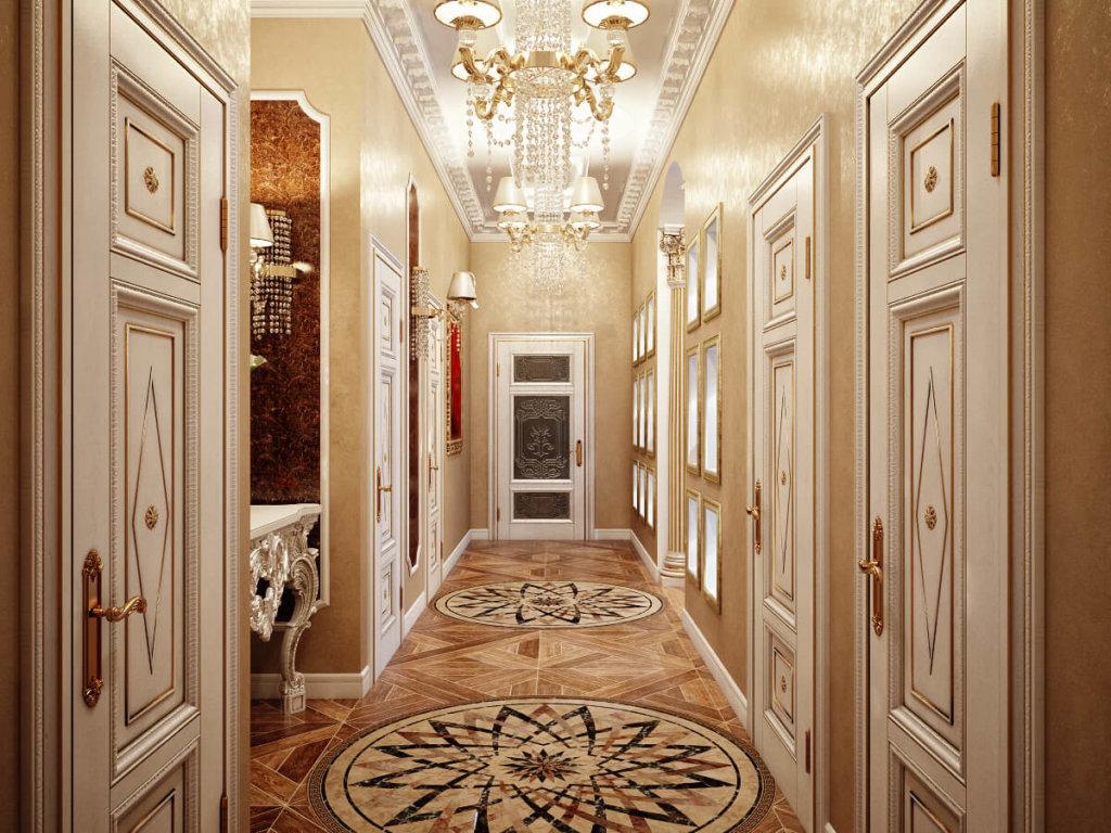 длинный и узкий коридор в классическом дизайне фото