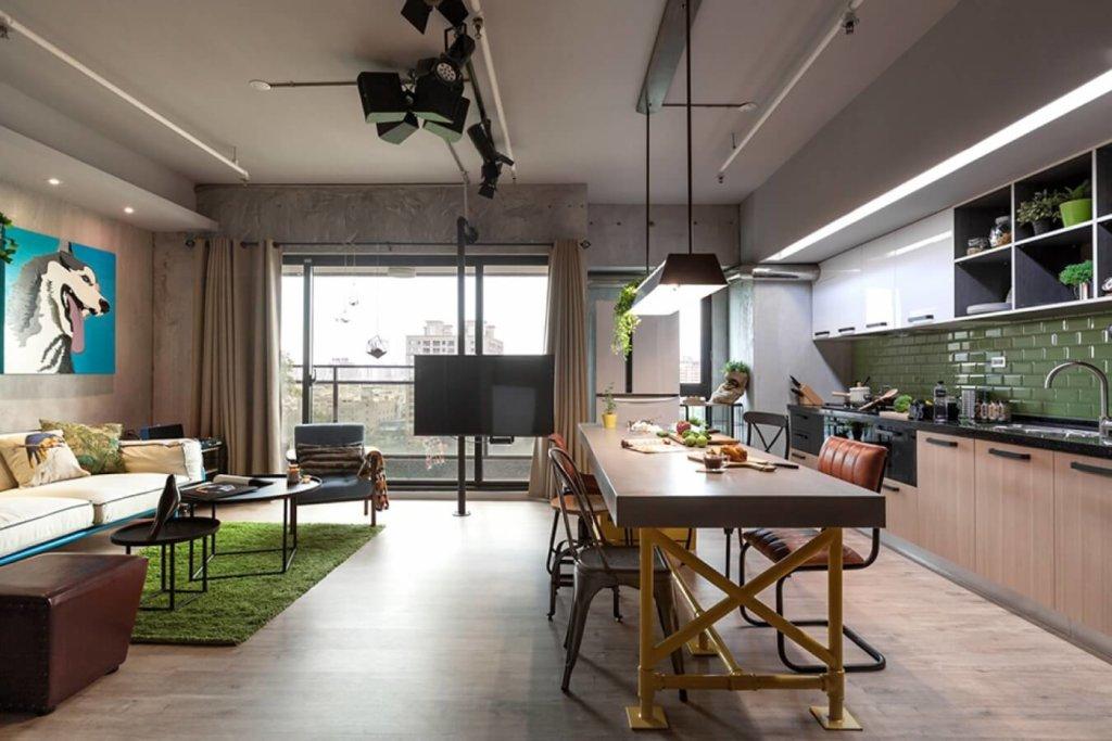 большая квартира студия дизайн гостиной на фото
