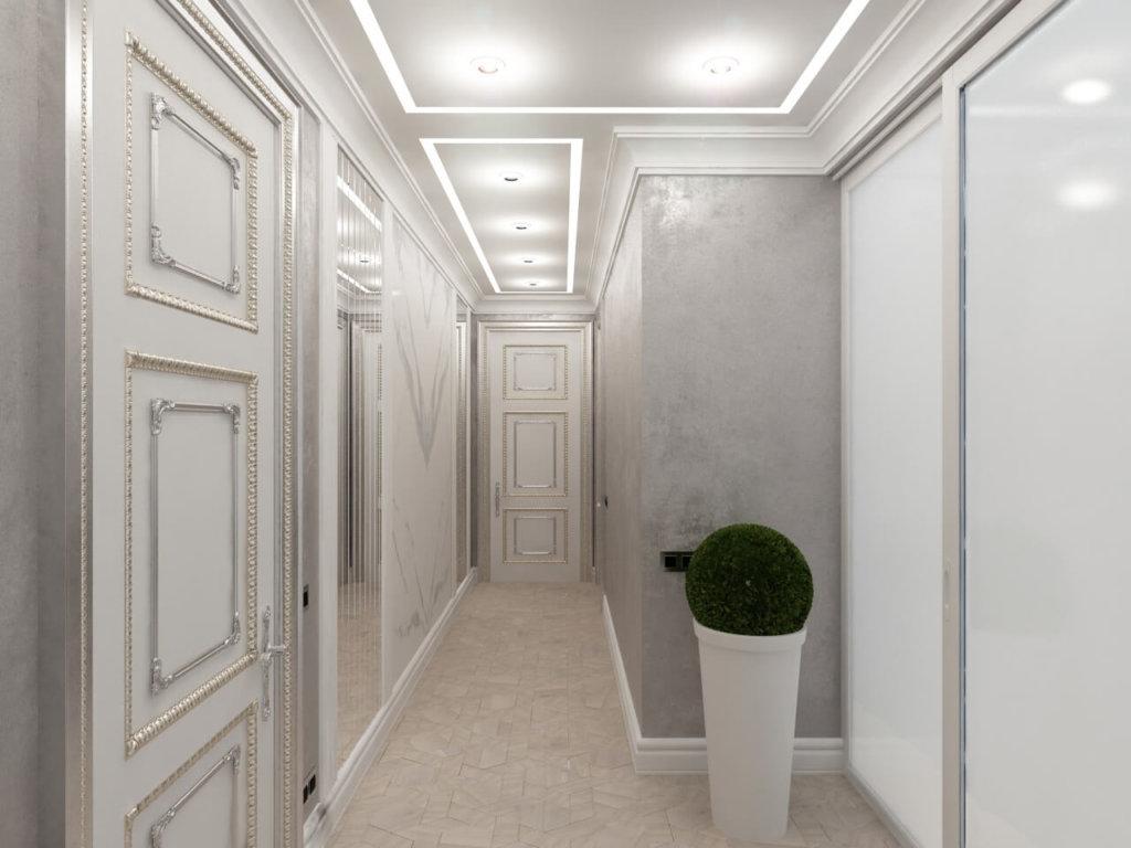 светлый дизайн коридора