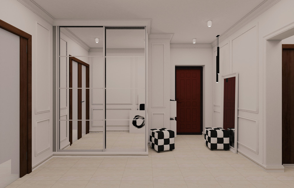 просторный светлый интерьер коридора