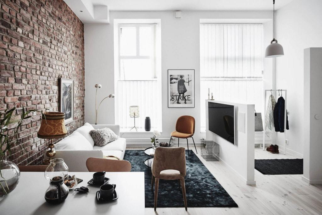 разделение маленькой квартиры-студии на зоны фото