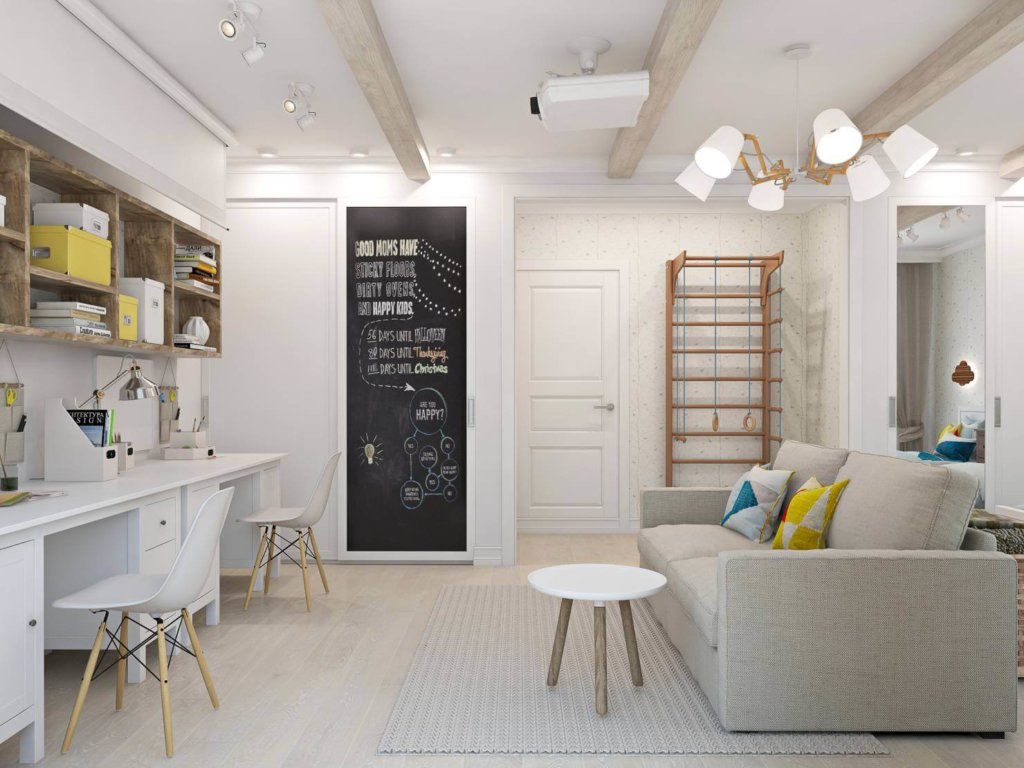 комната студия в скандинавском стиле фото