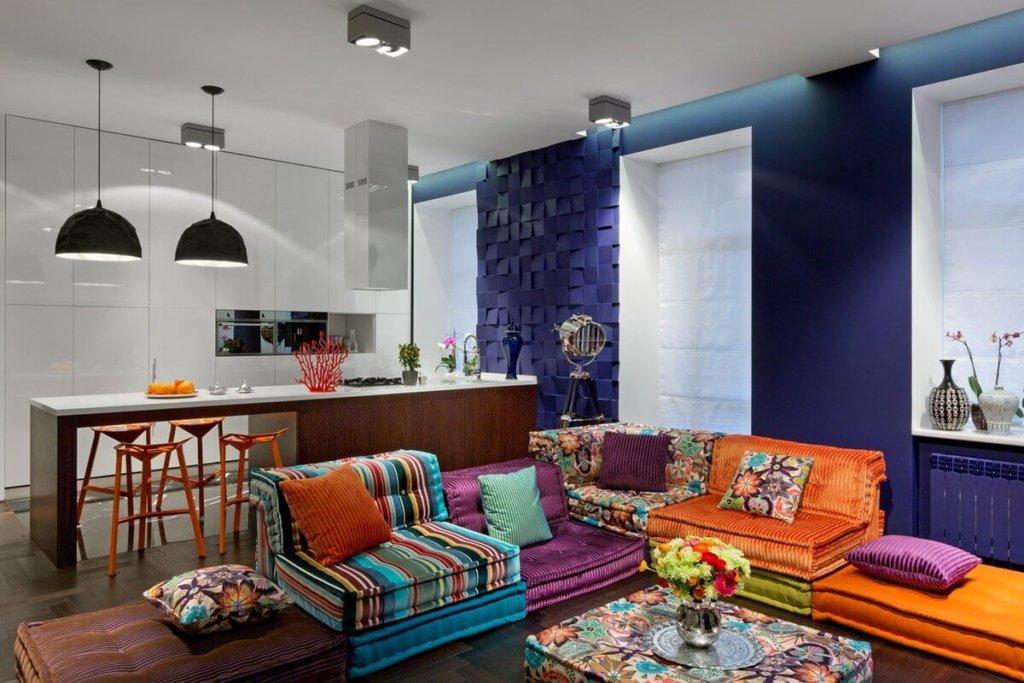 цветовое зонирование в квартире-студии фото