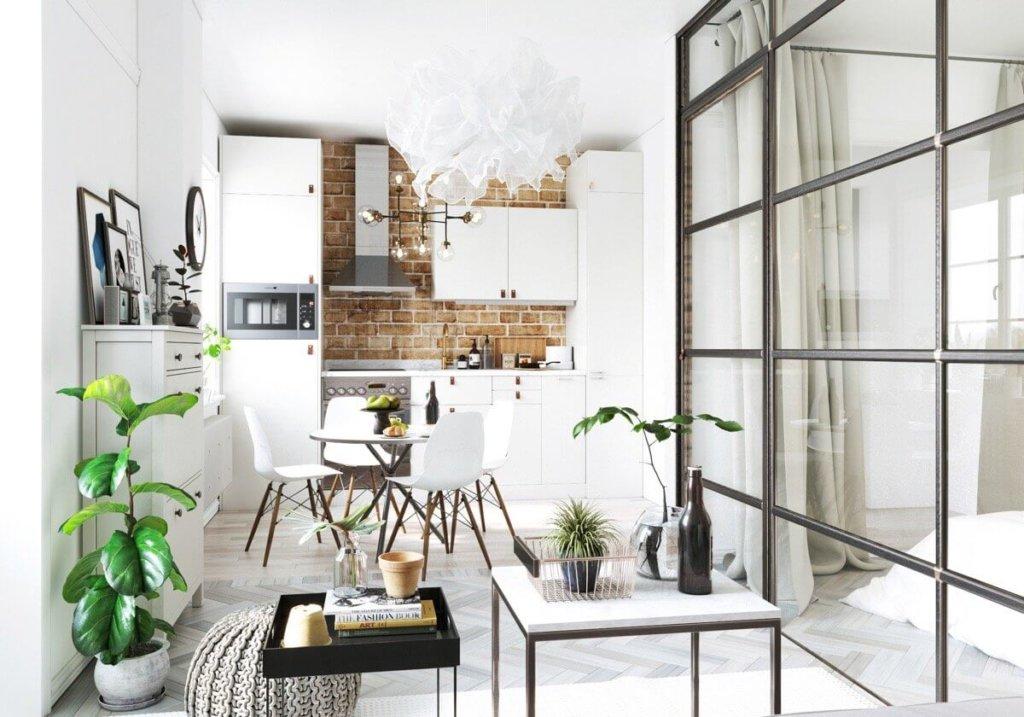 стеклянные перегородки для квартиры студии фото