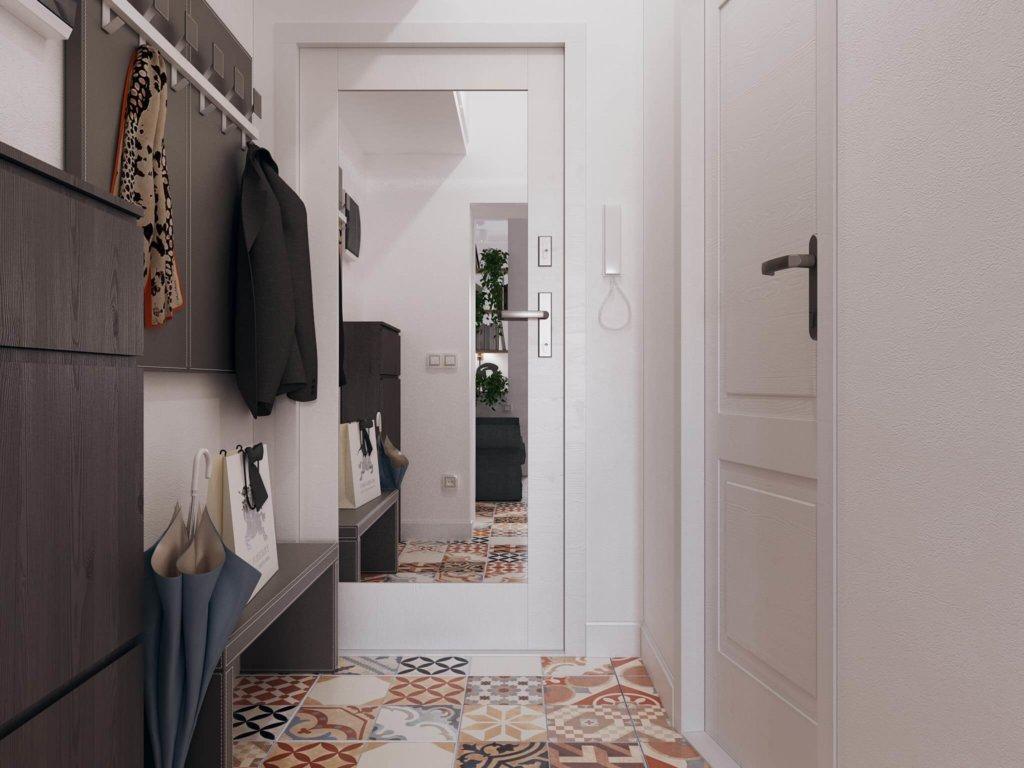 двери в прихожей в комнате-студии фото